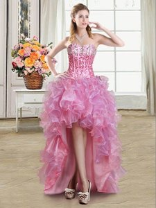 Sleeveless High Low Sequins Lace Up Prom Party Dress with Pink