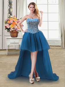 Flirting Sweetheart Sleeveless Prom Gown High Low Beading Teal Tulle