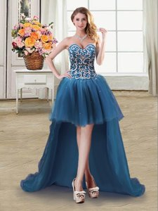 Sweetheart Sleeveless Prom Party Dress High Low Beading and Sequins Teal Tulle