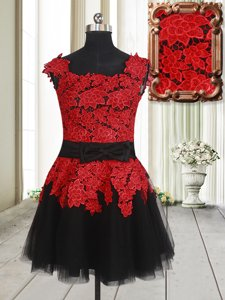 Ideal Square Sleeveless Evening Dress Mini Length Appliques Red And Black Tulle