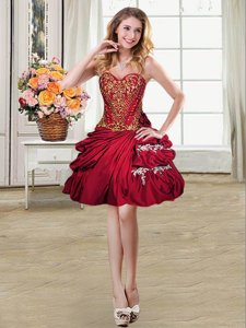Popular Pick Ups Mini Length Ball Gowns Sleeveless Wine Red Dress for Prom Lace Up