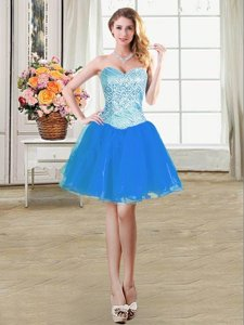 Blue A-line Organza Sweetheart Sleeveless Beading Mini Length Lace Up Dress for Prom