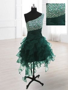 One Shoulder Beading and Ruffles Dress for Prom Peacock Green Lace Up Sleeveless Knee Length