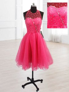 Sophisticated Hot Pink A-line High-neck Sleeveless Organza Knee Length Lace Up Sequins Prom Dresses