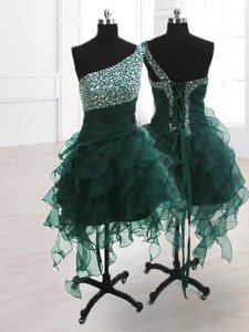 One Shoulder Sleeveless Beading and Ruffles Lace Up Prom Dress