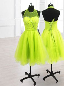 High Quality High-neck Sleeveless Prom Party Dress Knee Length Sequins Yellow Green Organza