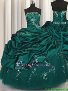 Edgy Ball Gowns Sweet 16 Dress Peacock Green Strapless Taffeta Sleeveless Floor Length Lace Up