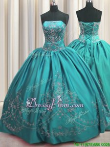 Amazing Sleeveless Lace Up Floor Length Beading and Embroidery 15th Birthday Dress