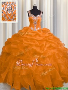 Custom Fit Sleeveless Floor Length Appliques and Ruffles Zipper Sweet 16 Dress with Orange