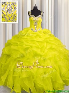 Stunning Organza Straps Sleeveless Zipper Appliques and Ruffles 15th Birthday Dress inYellow Green