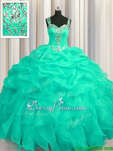 High Quality Floor Length Ball Gowns Sleeveless Turquoise Sweet 16 Quinceanera Dress Zipper