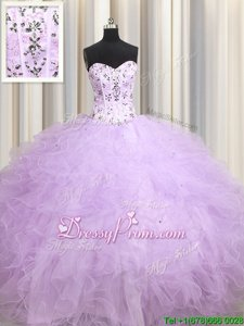 Fabulous Lavender Sleeveless Tulle Lace Up Quinceanera Dress forMilitary Ball and Sweet 16 and Quinceanera