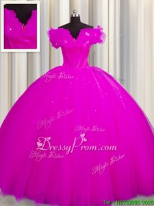Modern Fuchsia Ball Gowns Tulle V-neck Short Sleeves Ruching With Train Lace Up Vestidos de Quinceanera Court Train
