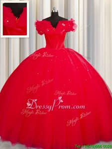 Unique Red Ball Gowns Ruching Quinceanera Dress Lace Up Tulle Short Sleeves With Train