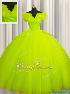 Attractive V-neck Short Sleeves Court Train Lace Up Ball Gown Prom Dress Yellow Green Tulle