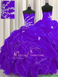 Dazzling Purple Sleeveless Beading and Appliques and Ruffles Floor Length Sweet 16 Quinceanera Dress