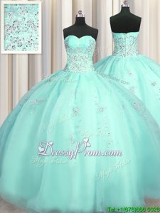 Chic Turquoise Organza Zipper Sweetheart Sleeveless Floor Length Quinceanera Gowns Beading and Appliques