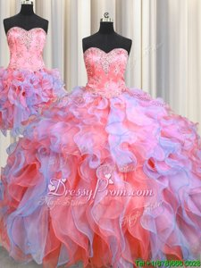 High Quality Beading and Appliques and Ruffles Sweet 16 Dresses Multi-color Lace Up Sleeveless Floor Length