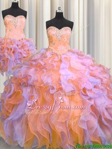 Exquisite Multi-color Vestidos de Quinceanera Military Ball and Sweet 16 and Quinceanera and For withBeading and Appliques and Ruffles Sweetheart Sleeveless Lace Up