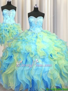 Multi-color Sweetheart Lace Up Beading and Appliques and Ruffles Quinceanera Gowns Sleeveless