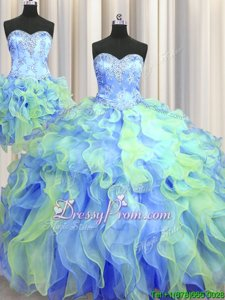Admirable Multi-color 15th Birthday Dress Military Ball and Sweet 16 and Quinceanera and For withBeading and Appliques and Ruffles Sweetheart Sleeveless Lace Up