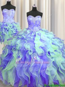 Top Selling Floor Length Multi-color Quinceanera Gowns Organza Sleeveless Spring and Summer and Fall and Winter Beading and Appliques and Ruffles