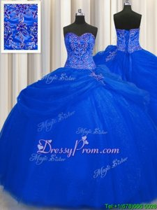 Fancy Beading Ball Gown Prom Dress Royal Blue Lace Up Sleeveless Floor Length