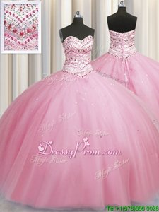 Wonderful Sleeveless Lace Up Floor Length Beading Quinceanera Dress