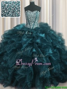 Sexy Sleeveless Brush Train Beading and Ruffles Lace Up Quinceanera Dresses