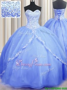 Most Popular With Train Ball Gowns Sleeveless Baby Blue Quinceanera Dress Brush Train Lace Up