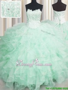 Organza Scalloped Sleeveless Lace Up Beading and Ruffles Quinceanera Gowns inApple Green