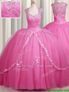 Colorful Rose Pink Quinceanera Gowns Military Ball and Sweet 16 and Quinceanera and For withBeading and Appliques Sweetheart Cap Sleeves Brush Train Zipper