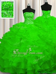 Classical Sweep Train Ball Gowns 15th Birthday Dress Spring Green Strapless Organza Sleeveless With Train Lace Up