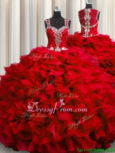 Fashionable Beading and Ruffles Sweet 16 Dresses Wine Red Zipper Sleeveless Floor Length