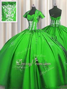 Stylish Spring Green Sweetheart Lace Up Beading and Appliques and Ruching Quinceanera Gowns Short Sleeves