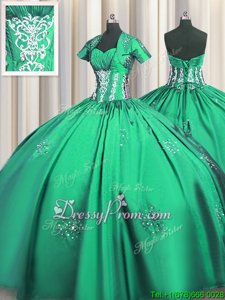 Pretty Turquoise Ball Gowns Sweetheart Short Sleeves Taffeta Floor Length Lace Up Beading and Appliques and Ruching Sweet 16 Dress