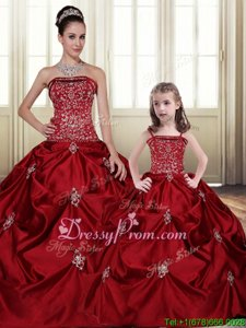 Most Popular Wine Red Strapless Neckline Embroidery and Pick Ups Quince Ball Gowns Sleeveless Lace Up