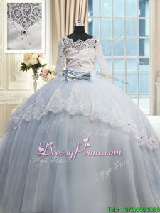 New Arrival Light Blue Half Sleeves Brush Train Beading and Lace and Bowknot With Train Sweet 16 Quinceanera Dress