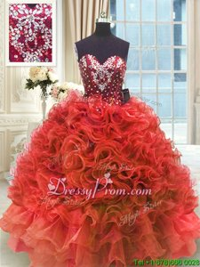 Customized Wine Red Ball Gowns Organza Sweetheart Sleeveless Beading and Ruffles Floor Length Lace Up Quinceanera Gowns
