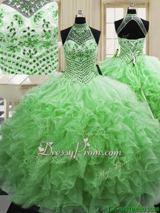 Custom Made Spring Green Sleeveless Beading and Ruffles Floor Length Quinceanera Dress