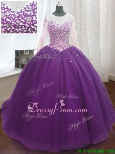 Wonderful Scoop Long Sleeves Organza Quinceanera Gown Beading and Sequins Sweep Train Lace Up