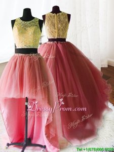 Adorable With Train Watermelon Red Sweet 16 Dress Scoop Sleeveless Brush Train Zipper