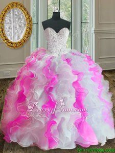 Enchanting Pink And White Ball Gowns Sweetheart Sleeveless Organza Floor Length Lace Up Beading and Ruffles Quinceanera Gowns