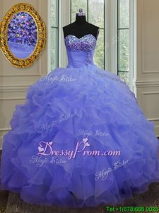 Noble Purple Lace Up Quince Ball Gowns Beading and Ruffles Sleeveless Floor Length