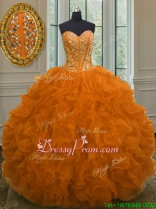 Lovely Sweetheart Sleeveless Lace Up Sweet 16 Dress Orange Organza