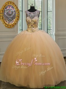 New Style Sleeveless Floor Length Beading and Appliques Backless Quinceanera Dresses with Gold