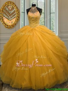 Custom Made Sleeveless Floor Length Beading Lace Up Quinceanera Dress with Gold