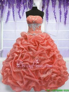 Fashionable Beading Sweet 16 Dresses Watermelon Red and Coral Red Lace Up Sleeveless Floor Length