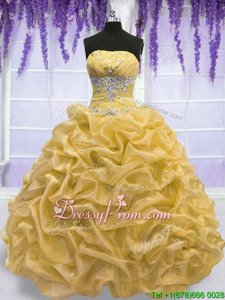 Latest Gold Quinceanera Gown Military Ball and Sweet 16 and Quinceanera and For withBeading Strapless Sleeveless Lace Up