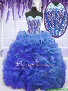 Smart Royal Blue Organza Lace Up Sweet 16 Quinceanera Dress Sleeveless Sweep Train Beading and Ruffles